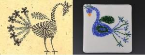 Kantha bird (left); Kantha fusion (right).